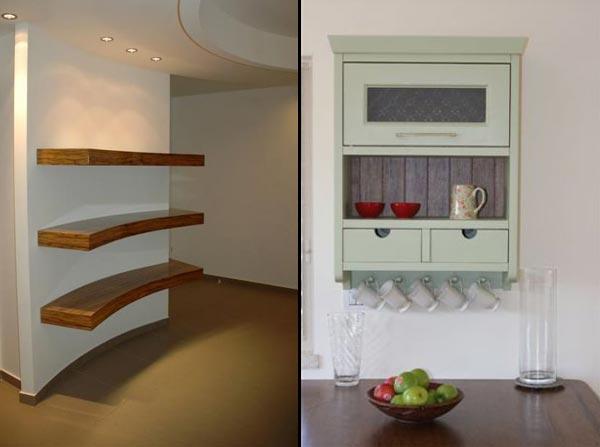 מימין מדף בסגנון כפרי למטבח שכולל חלק חשוף וחלק מוסתר בעיצוב סיגלית פרץ ומשמאל מדפים מעוגלים מעץ בעיצוב אורי עשת
