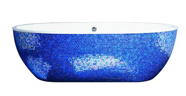 אמבטיית אקוומס משובצת פסיפס כחול של