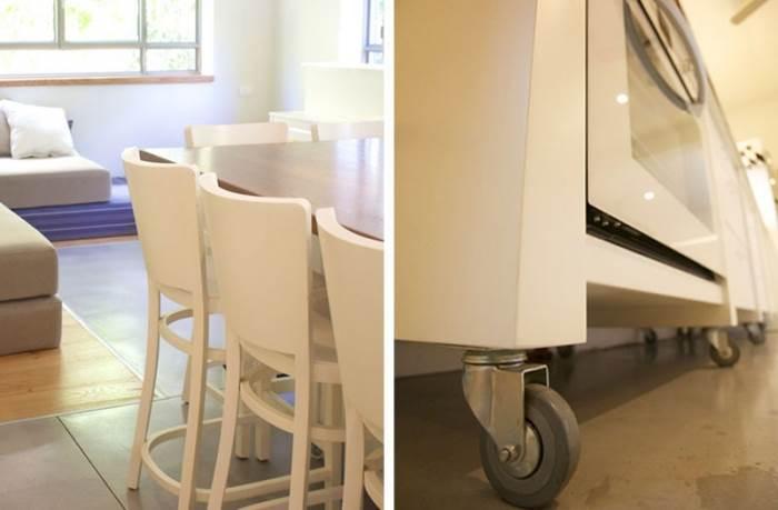 מראה מודרני ולא פורמלי המאפשר דינמיות וגמישות עיצובית. המטבח על הגלגלים (צילום: דרור כץ)