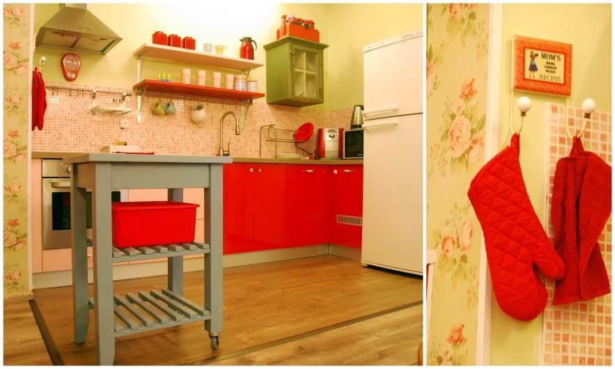 שני גוונים מרכזיים, ורוד ואדום, שזורים במטבח ומקנים לו מראה הרמוני ומלא חיים