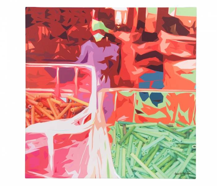 צבעי ניאון חזקים עם מוטיב של אנשים עובדים. תמונה לסלון של איקאה. מחיר: 245 שקלים (צילום: יח