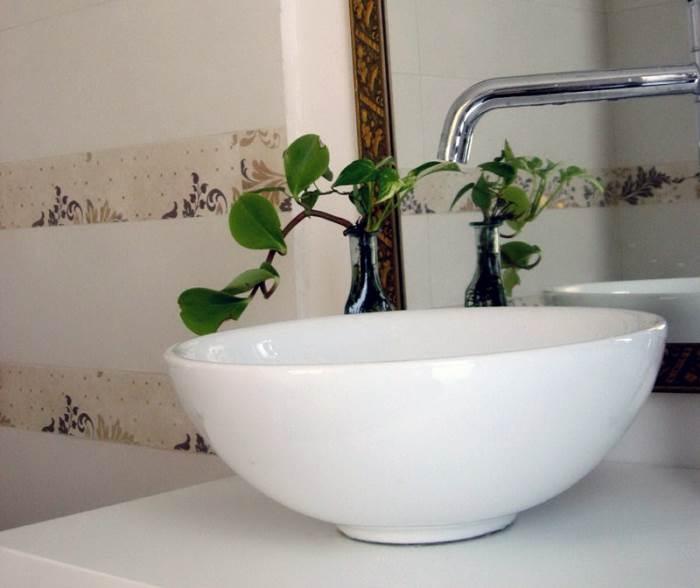 על קירות המקלחת: שני פסים זהובים - לבקשת בעלת הבית (צילום: בנימין אדם)