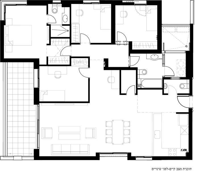 תוכנית הדירה - לפני השיפוץ