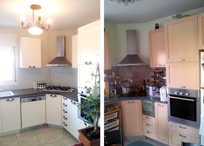 מתיחת פנים בתקציב נמוך בעיצובה של מיקה אלטר. מימין: המטבח לפני, משמאל: המטבח  אחרי השדרוג | עלות כוללת: 15,000 שקלים (צילום: מיקה אלטר)