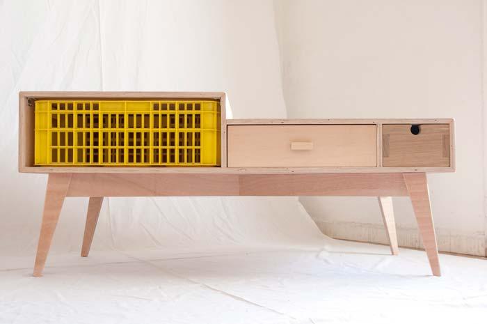 מזנון מעוצב עם ארגז שוק צבעוני- גינקו חרשות עץ. צילום: מאיה קרמין