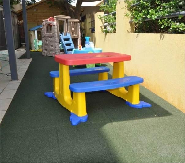 שהילדים יוכלו לשחק בנחת ובבטחה - חיפוי חוץ מעוצב לריצוף חצר הבית מאריחי בטיחות של חברת Tyrec. צילום: יח