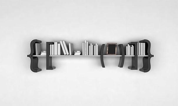 במאמר מוסגר: מדפים עם קריצה בעיצוב סוגריים. עיצוב:  Marcos Breder