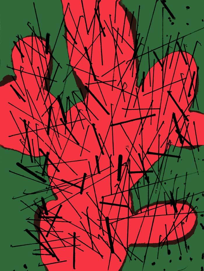 הדפס רשת של דוד טרטקובר בדמותו של הצבר. סדרה בת שישה דימויים (כל מהדורה בת 50 עותקים בלבד).