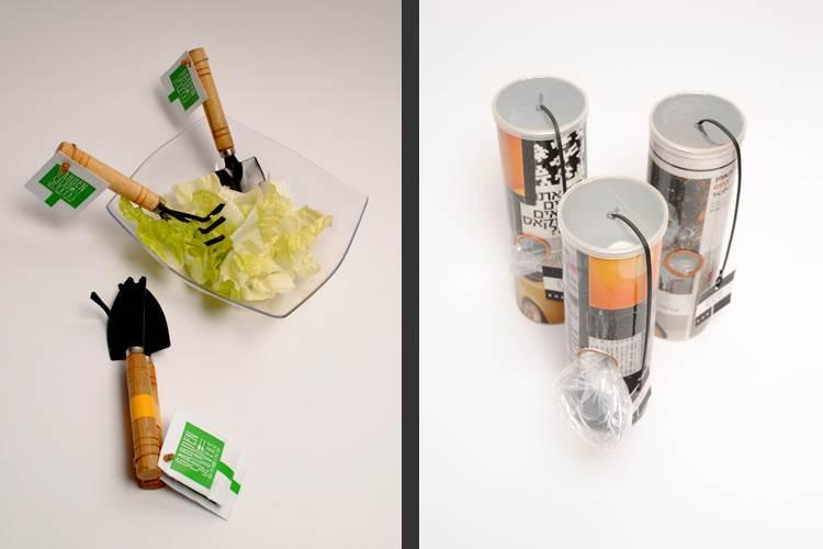 מחזיק לשקיות בעיצוב ליהי שפייכר; כפות לסלט בצורת כלי גינה בעיצוב נופר חביף