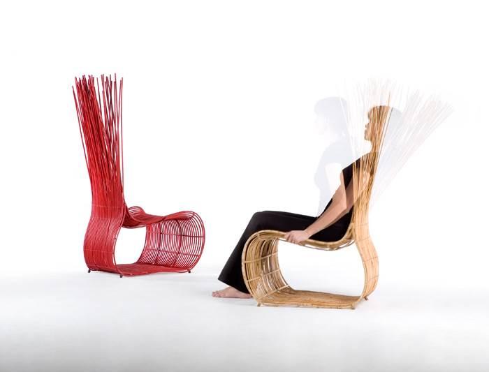 כורסא דגם YODA עשויה במבוקים. קיים בצבעים: טבעי/ירוק/אדום. להשיג בסיאם.