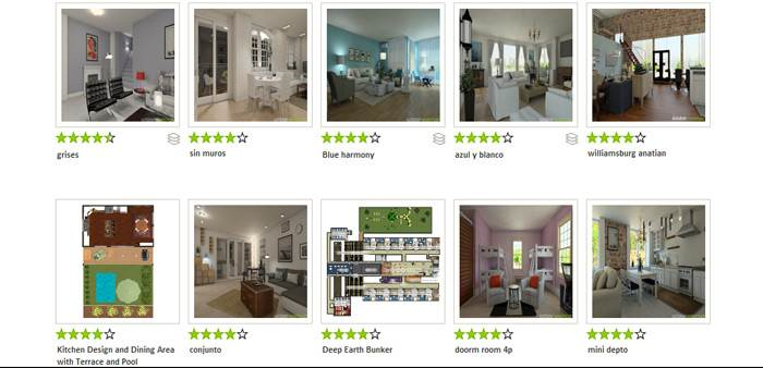 מבחר גלריות של חללים להשראה- Homestyler (צילום מסך)