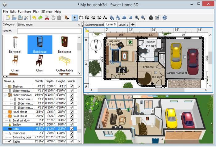 צפייה בו זמנית ברכיבים שונים של תכנון חלל - Sweet Home 3d