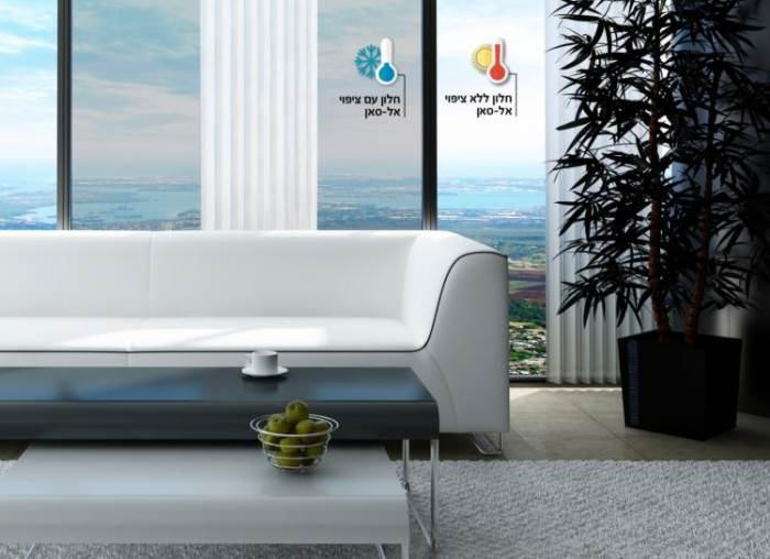 חדש - כל היתרונות: הצללה ומניעה של כניסת חום ודהייה של רכוש. ציפוי לחלון נביצ אח-סאן. ציםוי: יחצ