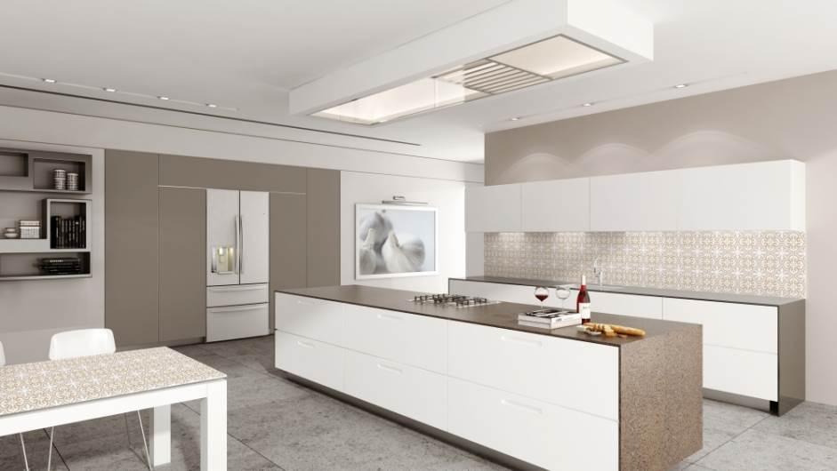 חיפוי זכוכית למטבח ומשטח תואם לשולחן של בלורן למטבח מודרני עם מגע נוסטלגי. צילום: יח