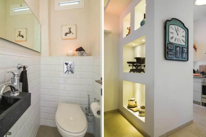 מימין- האדריכלית דורית רגב מנצלת את הקירות לנישות גבס מעוצבות | משמאל: שירותים שחודשו על ידי המעצבת שירן לידור | צילומים: עידן גור