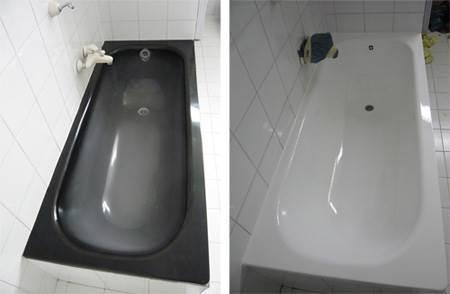 גם אמבטיות בצבעים כהים ניתנות לציפוי בגוונים רכים ונעימים יותר. בתמונה, אמבטיה לפני ואחרי כפי ששופצה על ידי
