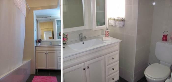 מימין: הנישה שבעבר הייתה חלק מחדר השירות הצמוד למטבח בה הוכנס ארון האמבטיה, משמאל: מבט כללי על חדר הרחצה המכיל אמבטיה גדולה ועדיין שומר על תחושה מרווחת וגדולה