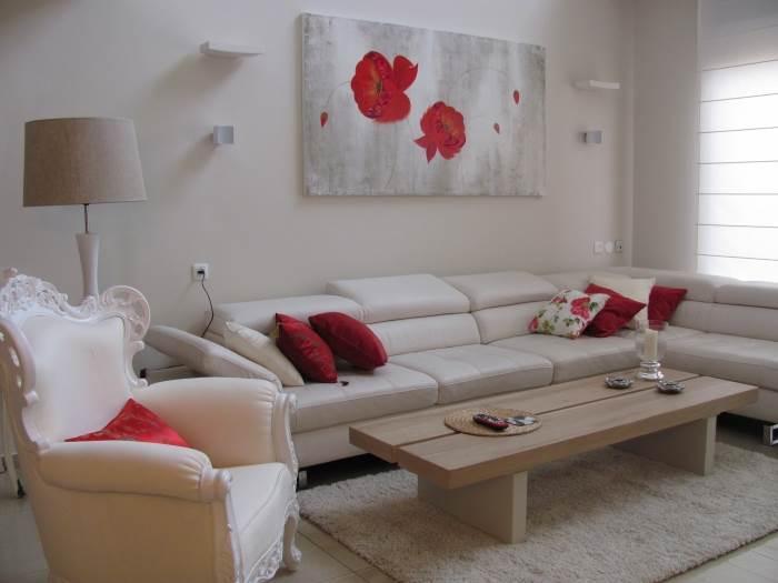 כל הקו העיצובי נבנה על המשחק בין שני הצבעים הקונטרסטיים, אדום ולבן. הסלון לאחר השדרוג