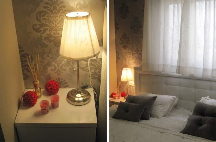 שילובים של אפור ולבן ונגיעות קטנות של אדום לחימום האווירה. חדר השינה לאחר השדרוג