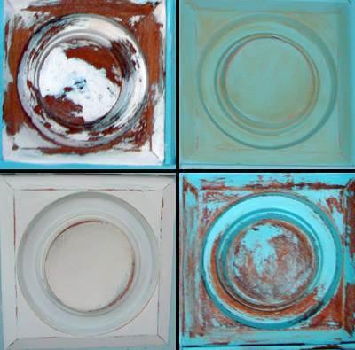 דוגמאות צביעה: למעלה מימין פטינה חומה על גבי טורקיז, משמאל דיסטרסינג דומיננטי בסגנון כפרי במראה רוסטיק. למטה מימין דיסטרסינג במראה כפרי בגוון טורקיז, ומשמאל דוגמא לדיסטרסינג בצבע שמנת שעבר שפשוף כדי לחשוף צבע חום בפינות וצבע כחול בפנים  (ביצוע וצילום: רוע