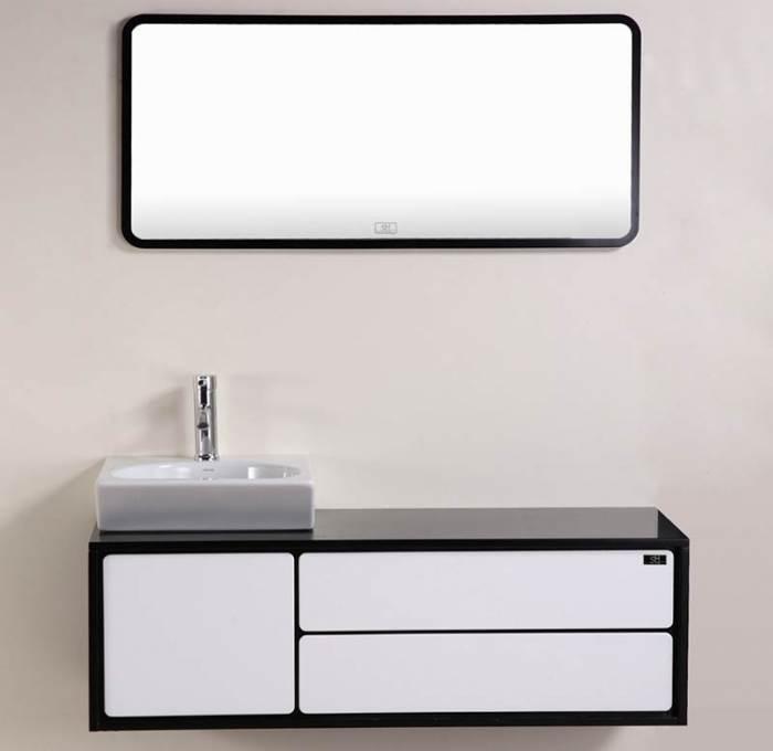 ארון אמבטיה תלוי עם כיור מונח של SHdesign בקווים נקיים וקלאסיים (צילום: יח