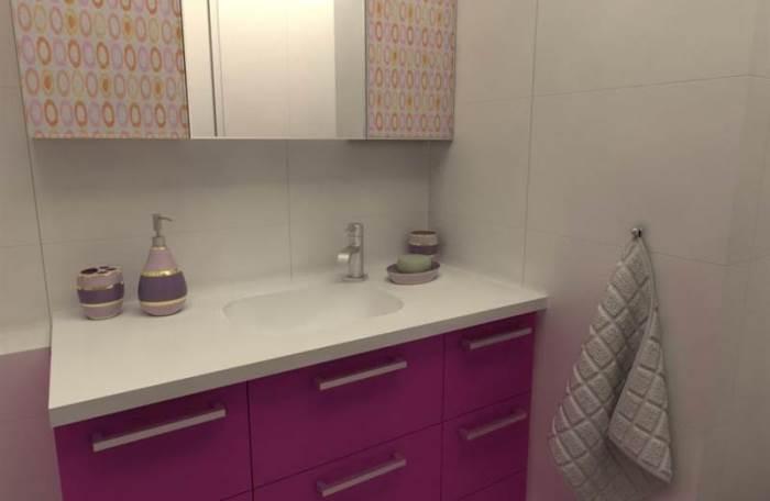 ארון אמבט בצבע אפוקסי ורוד פוקסיה, עם משטח אבן קיסר בעיצובו של שי בניאן, מעצב הבית של פרפקטו מטבחים. (צילום: יח
