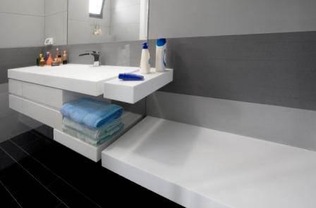 ההעדפה כיום היא לארונות אמבטיה תלויים שיוצרים תחושה מרווחת ומרחפת בחלל. פרוייקט של ליאת באר