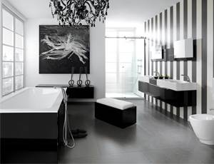 עיצוב חדר אמבטיה מתחיל מהבנת הצרכים והתקציב, ורק לאחר מכן עובר לשלב בחירת המוצרים. אמבטיה בשחור לבן של HEZIBANK (צילום: יח