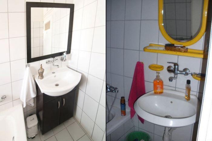 הרקע הנייטרלי של האמבטיה שכלל אריחי קרמיקה לבנים, הקל על עבודת העיצוב שהסתכמה ברכישת ארון מתצוגה בעלות של 600 ¤. משמאל: האמבטיה לאחר השדרוג