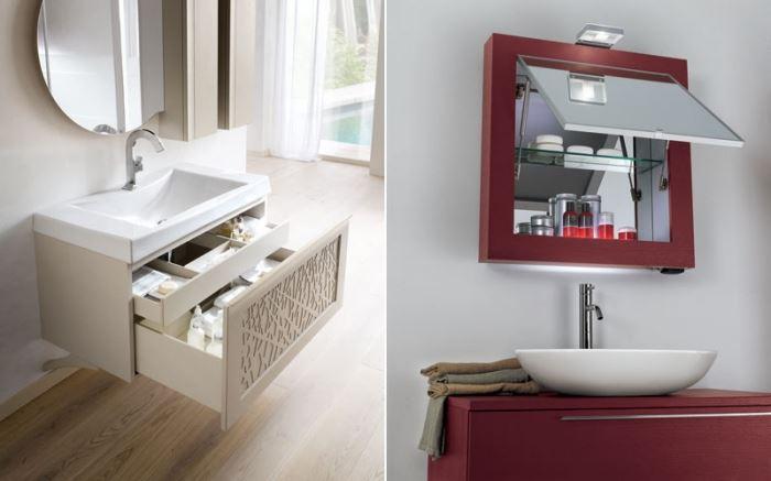 רהיטים מרחפים וארונות אחסון קטנים משולבים על מראה היוצרים תחושה של גודל ומרחב, להשיג ב- VOLARE (צילום:יח