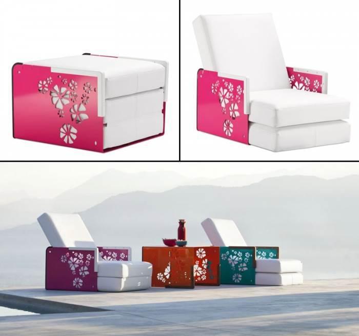 שולחן קפה, פוף, מיטת שיזוף, כורסת יחיד, כולם בריהוט המודולרי של המותג הצרפתי Ego Paris  להשיג ברשת פנטהאוז רהיטים (צילום:יח
