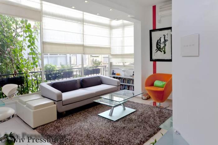וילון גלילה בסלון בעיצוב מודרני צבעוני, Gilad Interior Design