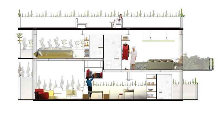 חתך דירת לופט  - b.bos architects