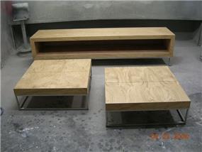 מיזנון ושולחן מעץ אלון בשילוב נרוסטה