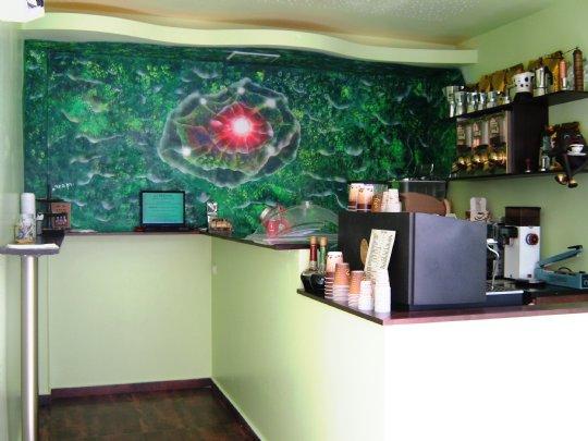 ציור קיר בית קפה רמת גן