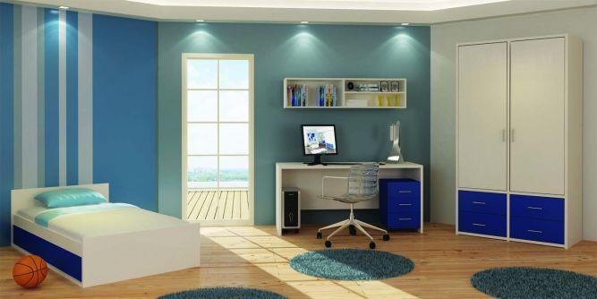 חדר נוער בגווני כחול בעיצוב ניצן הורוביץ עבור רהיטי דורון