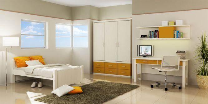 חדר נוער בצבעי לבן וצהוב בעיצוב ניצן הורוביץ עבור רהיטי דורון