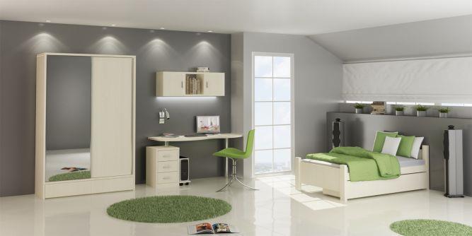 חדר ילדים בגווני ירוק ואפור בעיצוב ניצן הורוביץ עבור רהיטי דורון