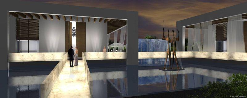 אילן פיבקו אדריכלים -   הצעה לבית בכפר שמריהו - לילה