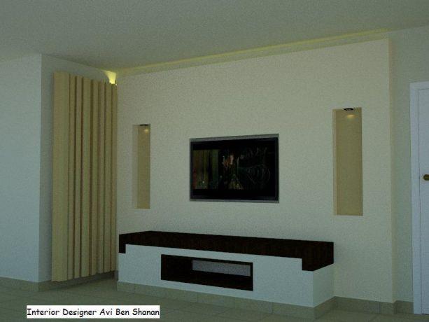מזנון לקיר בסלון עם נישות ותאורה