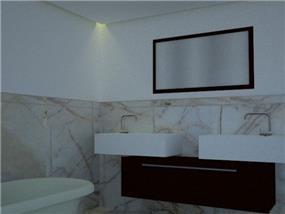 חדר אמבטיה מרווח עם שני כיורים לנוחיות מירבית