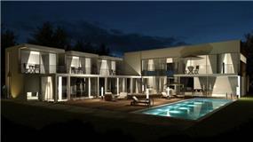 גינת בית פרטי  כוללת בריכת שחיה, בתכנון אדריכל נסטור סנדבנק