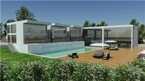 הדמית מחשב של גינת בית פרטי ובריכת שחיה,  בתכנון אדריכל נסטור סנדבנק