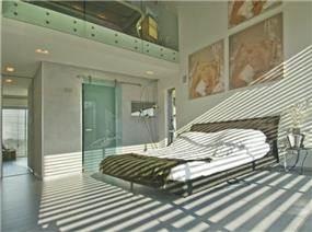 חדר שינה בתכנון אדריכל נסטור סנדבנק