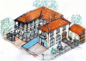 סקיצת בית פרטי בתכנון אדריכל נסטור סנדבנק