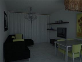 סלון קטן, בהשראת מונת החמניות של ואן גוך, כריות וכסאות בצהוב.