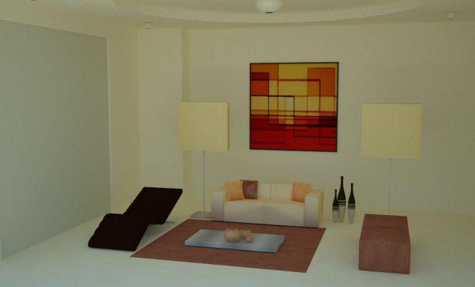 הדמיה ממוחשבת של סלון מודרני, תמונת קיר, תאורה עומדת,