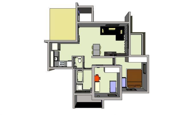 מודל דירה הדמיית מחשב