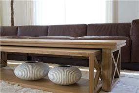 עיצוב סלון , שולחן סלון מעץ , בית בהר רדר