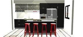 הדמית מחשב למטבח מודרני בדירת רווק